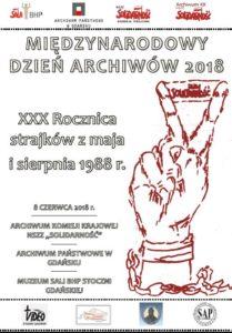 plakat Miedzynarodowy dzień Archiwów wGdańsku