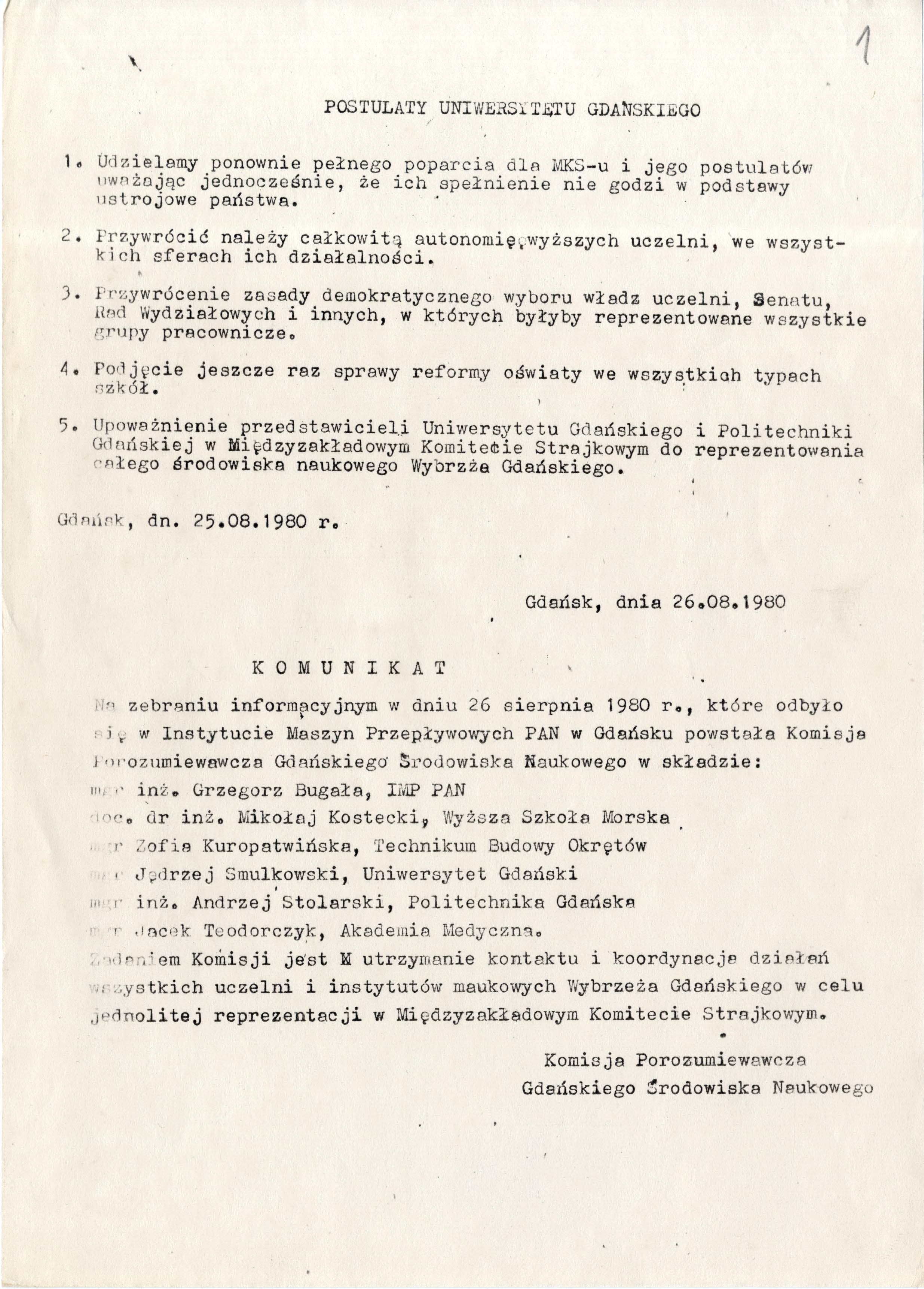 Postulaty pracowników Uniwersytetu Gdańskiego