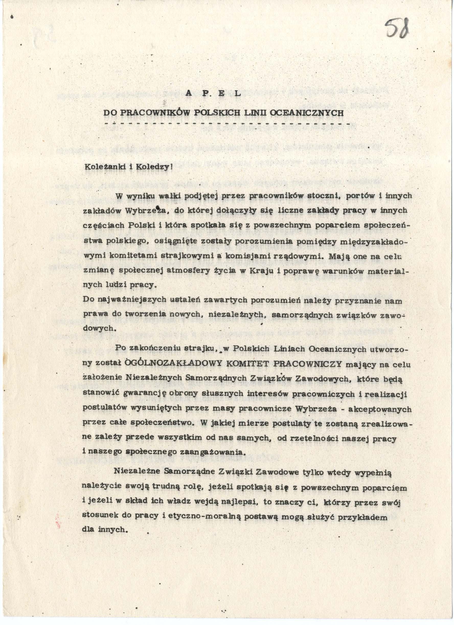 Komisja Zakładowa przy PLO w Gdyni przykład dokumentu