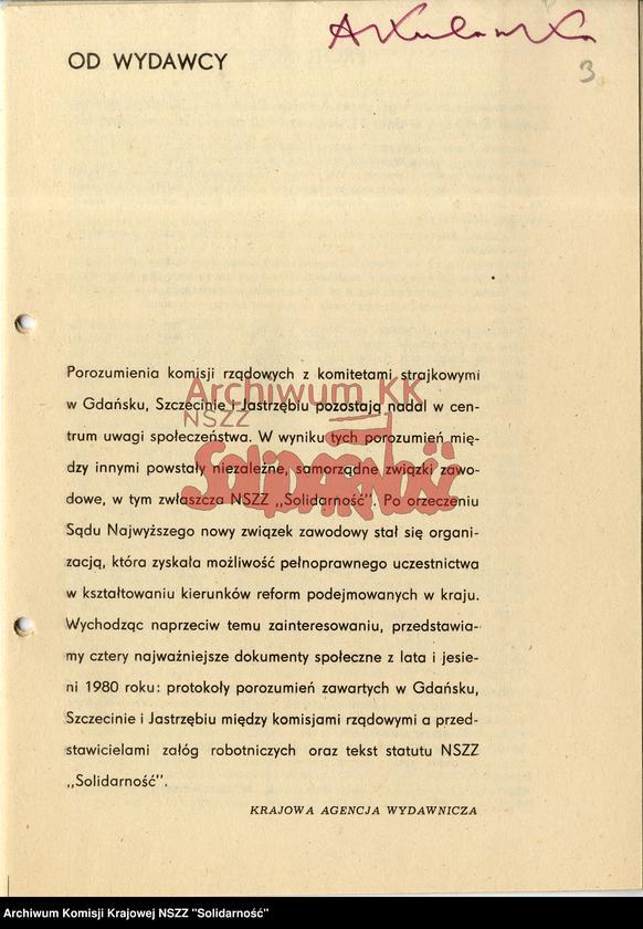 Teksty protokołów porozumień zawartych w Gdańsku