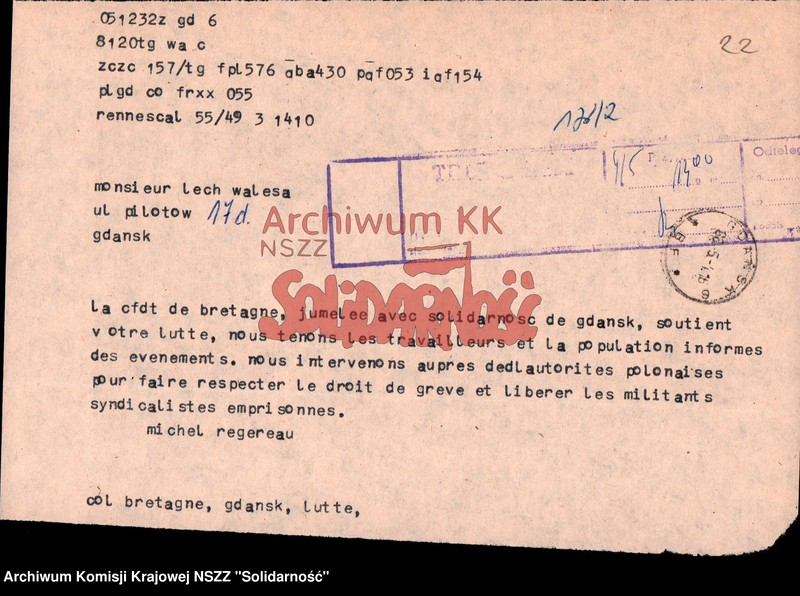 scan of document related to May 1988 strike in Poland