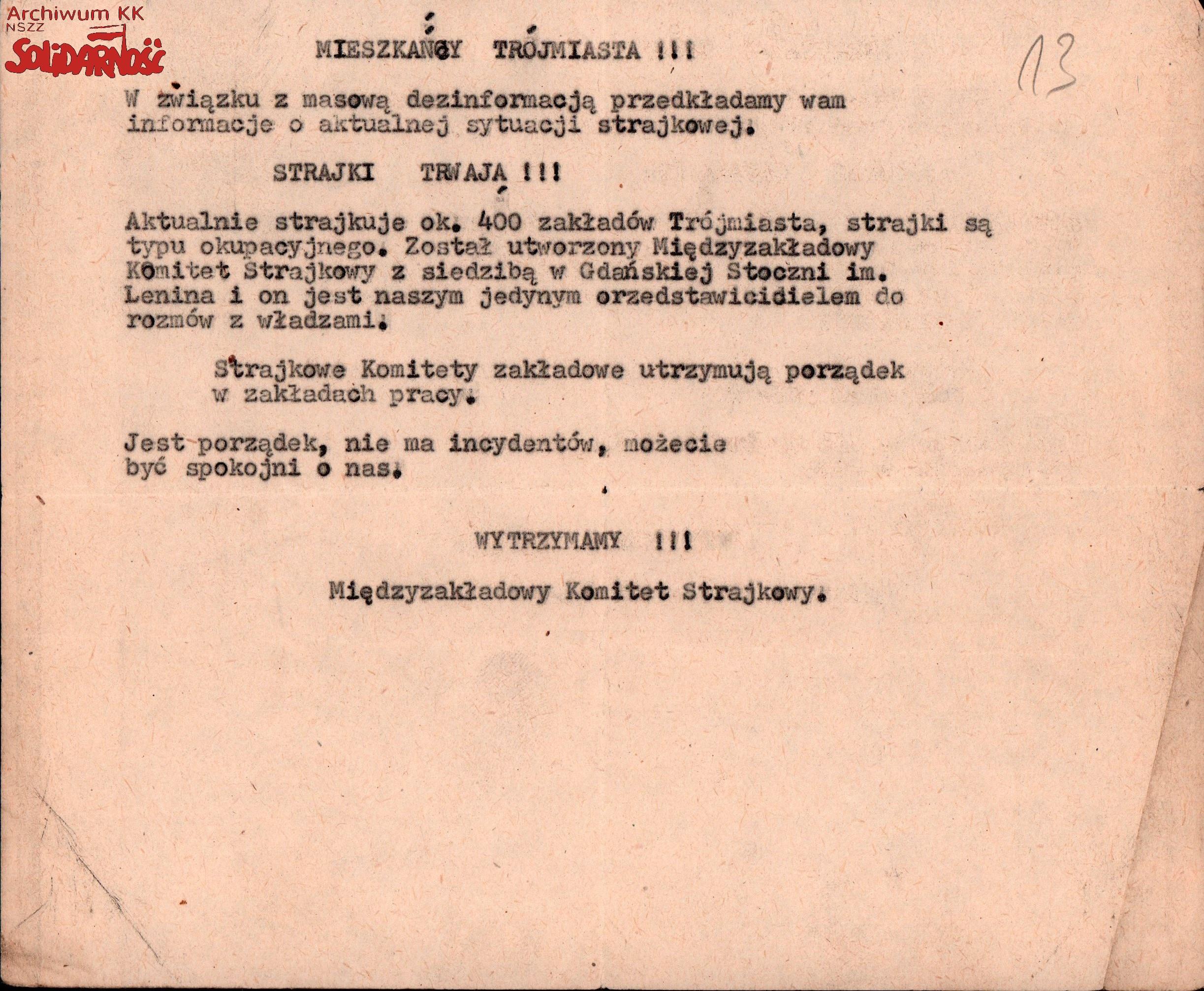 komunikat Międzyzakładowego Komitetu Strajkowego